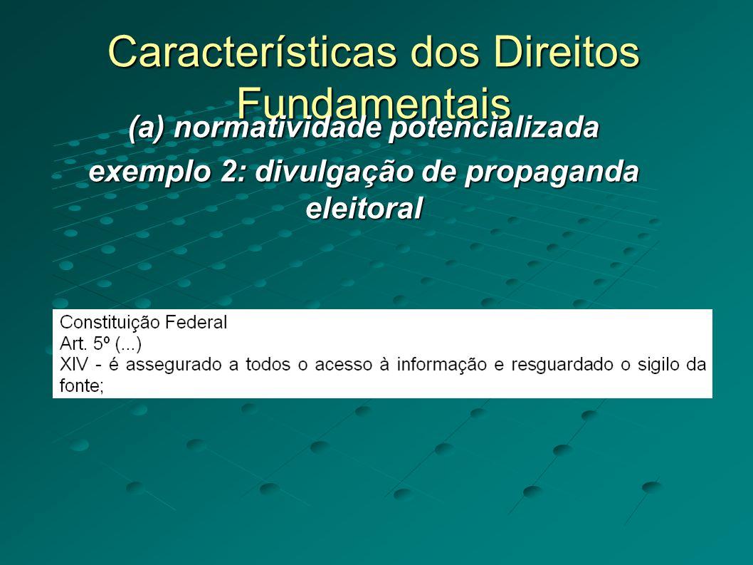 Características dos Direitos Fundamentais (a) normatividade potencializada exemplo 2: divulgação de propaganda eleitoral