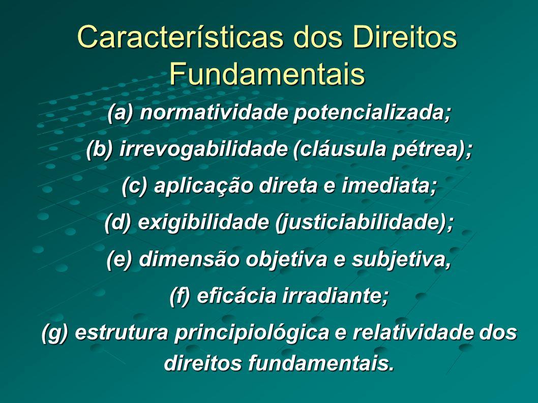 Características dos Direitos Fundamentais (a) normatividade potencializada; (b) irrevogabilidade (cláusula pétrea); (c) aplicação direta e imediata; (d) exigibilidade (justiciabilidade); (e) dimensão objetiva e subjetiva, (f) eficácia irradiante; (g) estrutura principiológica e relatividade dos direitos fundamentais.
