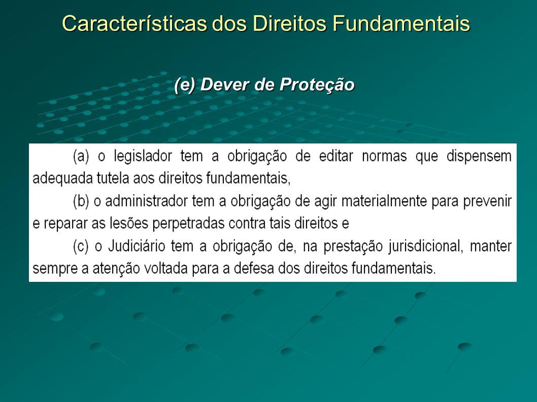 Características dos Direitos Fundamentais (e) Dever de Proteção