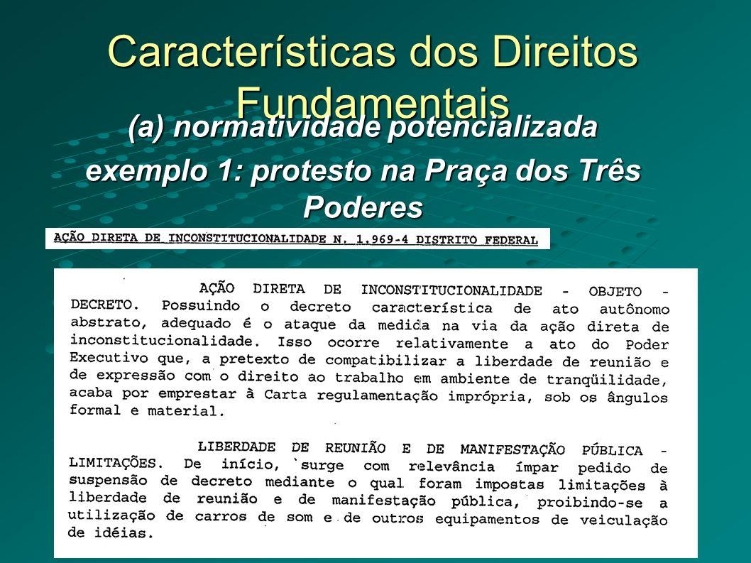 Características dos Direitos Fundamentais (a) normatividade potencializada exemplo 1: protesto na Praça dos Três Poderes