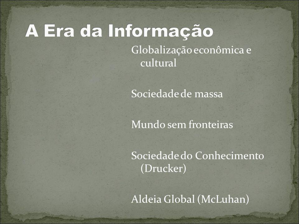 Globalização econômica e cultural Sociedade de massa Mundo sem fronteiras Sociedade do Conhecimento (Drucker) Aldeia Global (McLuhan)
