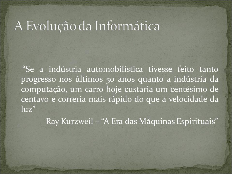 Se a indústria automobilística tivesse feito tanto progresso nos últimos 50 anos quanto a indústria da computação, um carro hoje custaria um centésimo de centavo e correria mais rápido do que a velocidade da luz Ray Kurzweil – A Era das Máquinas Espirituais
