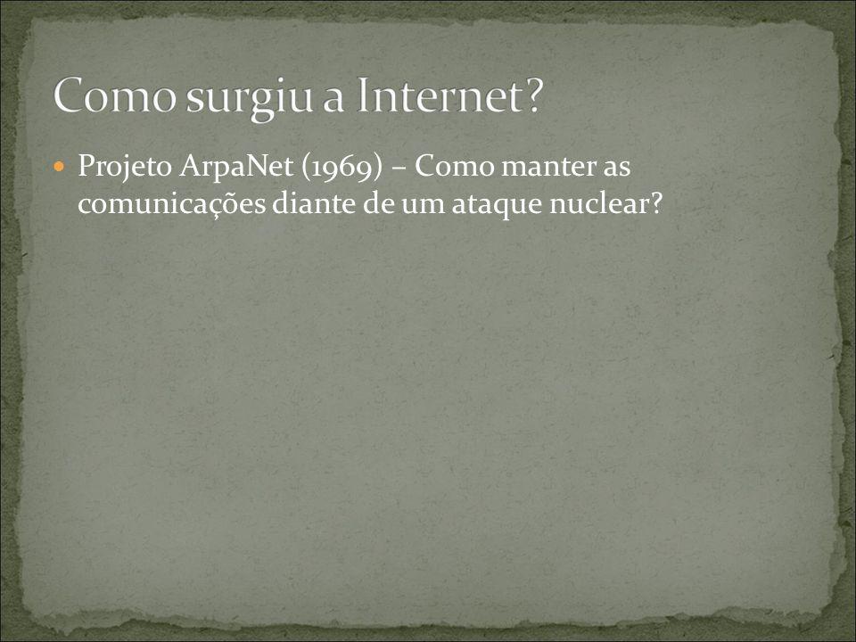Projeto ArpaNet (1969) – Como manter as comunicações diante de um ataque nuclear
