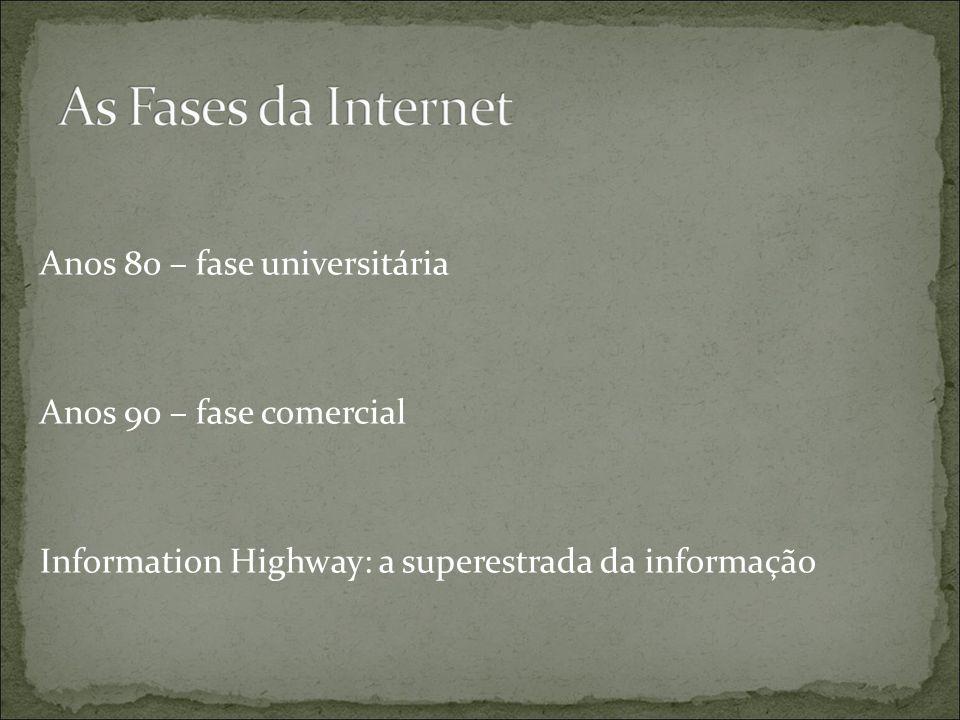 Anos 80 – fase universitária Anos 90 – fase comercial Information Highway: a superestrada da informação