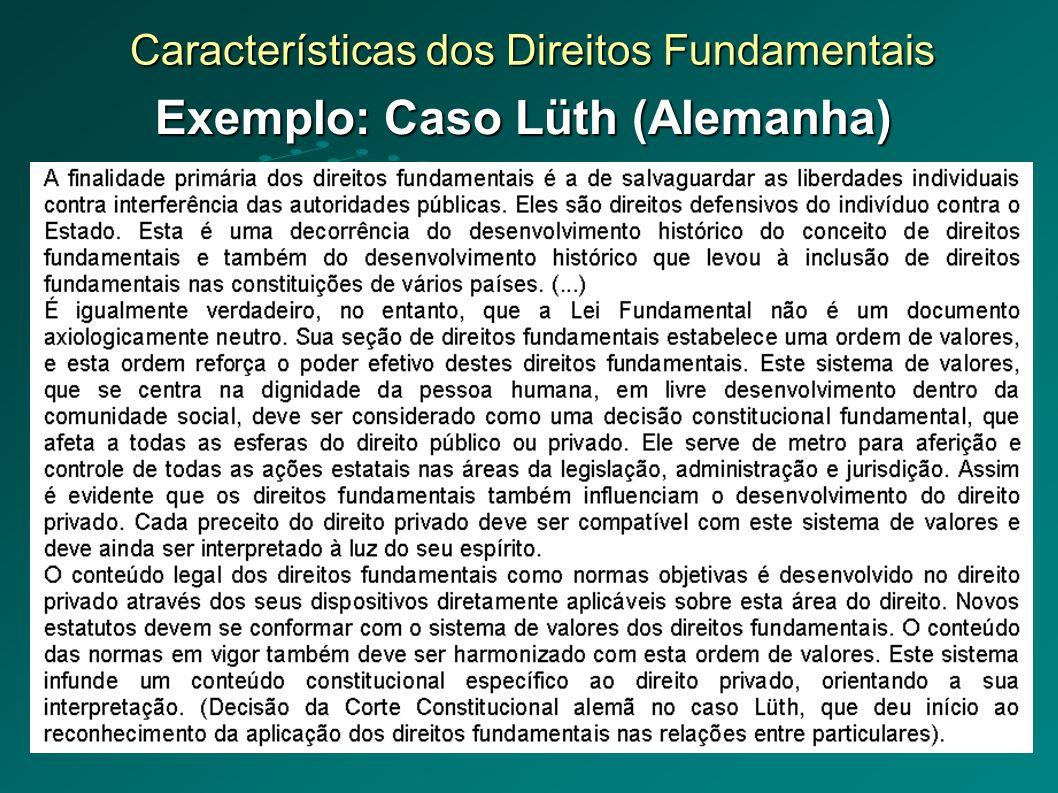Características dos Direitos Fundamentais Exemplo: Caso Lüth (Alemanha)