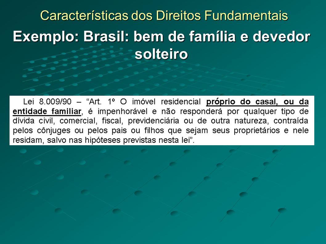 Características dos Direitos Fundamentais Exemplo: Brasil: bem de família e devedor solteiro