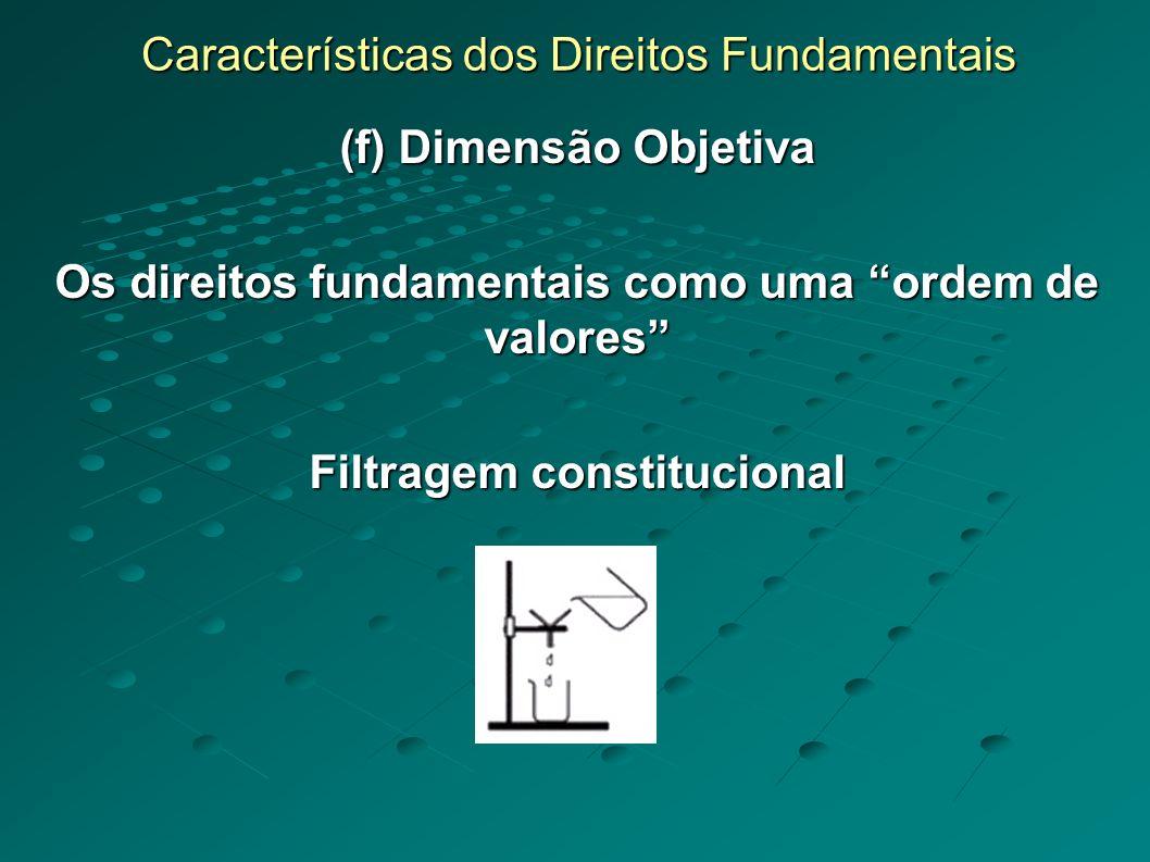Características dos Direitos Fundamentais (f) Dimensão Objetiva Os direitos fundamentais como uma ordem de valores Filtragem constitucional