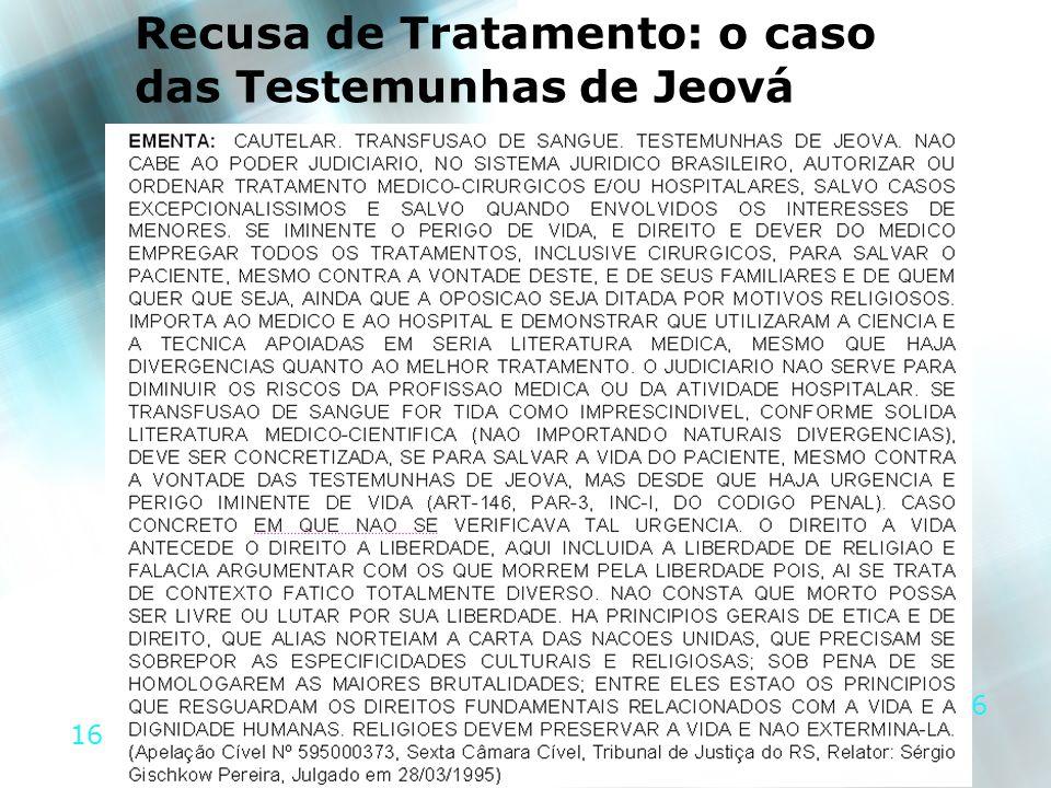 16 Recusa de Tratamento: o caso das Testemunhas de Jeová