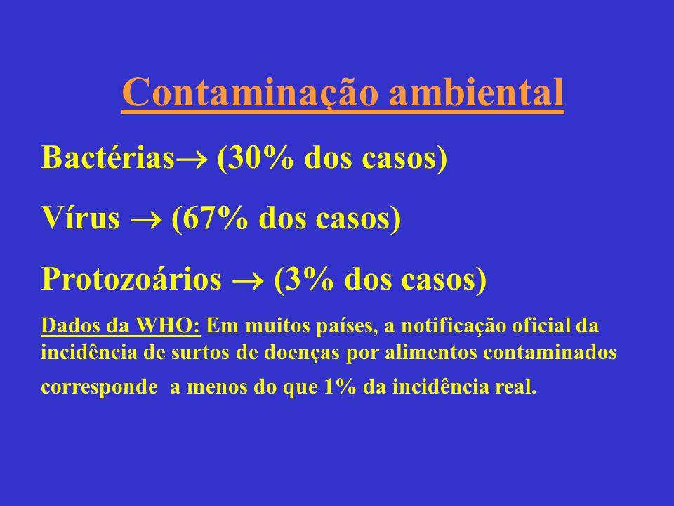 Contaminação ambiental Bactérias (30% dos casos) Vírus (67% dos casos) Protozoários (3% dos casos) Dados da WHO: Em muitos países, a notificação ofici