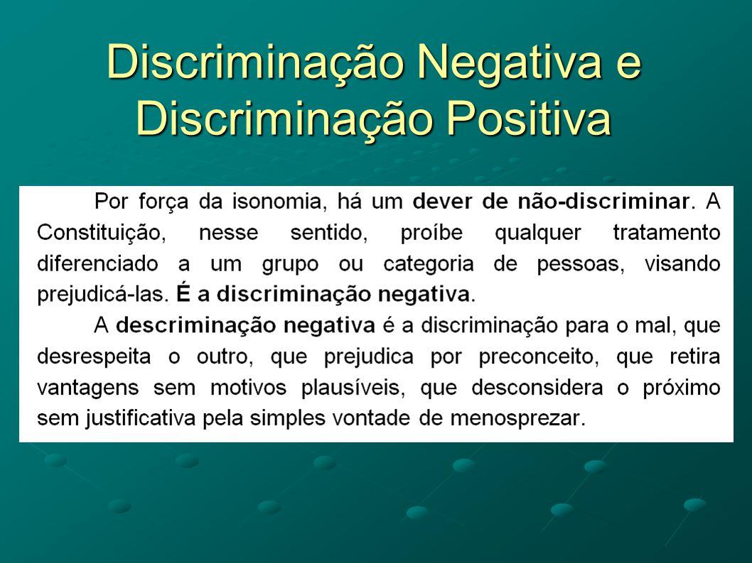 Discriminação Negativa e Discriminação Positiva