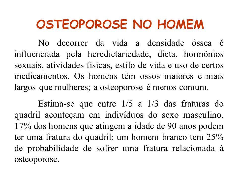 OSTEOPOROSE NO HOMEM No decorrer da vida a densidade óssea é influenciada pela heredietariedade, dieta, hormônios sexuais, atividades físicas, estilo