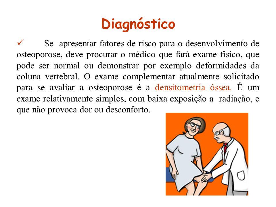 Diagnóstico Se apresentar fatores de risco para o desenvolvimento de osteoporose, deve procurar o médico que fará exame físico, que pode ser normal ou