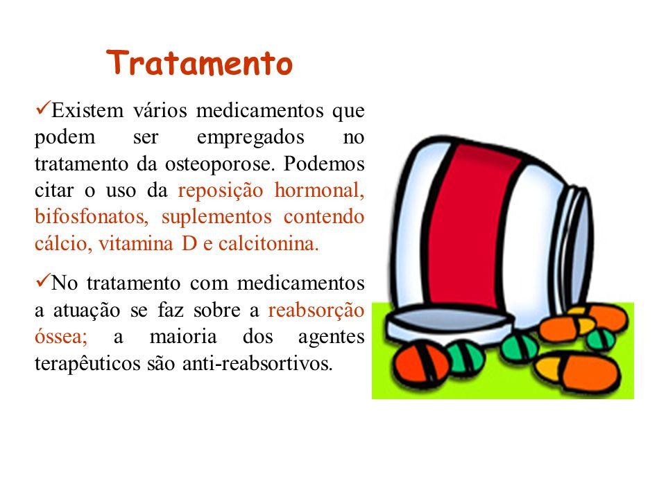 Tratamento Existem vários medicamentos que podem ser empregados no tratamento da osteoporose. Podemos citar o uso da reposição hormonal, bifosfonatos,