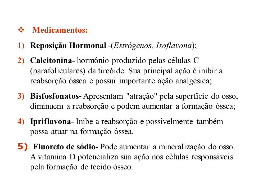 Medicamentos: 1)Reposição Hormonal -(Estrógenos, Isoflavona); 2)Calcitonina- hormônio produzido pelas células C (parafoliculares) da tireóide. Sua pri