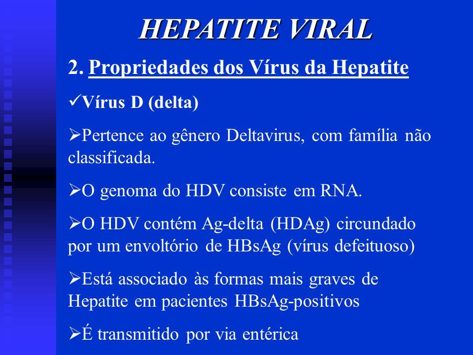 HEPATITE VIRAL 2. Propriedades dos Vírus da Hepatite Vírus D (delta) Pertence ao gênero Deltavirus, com família não classificada. O genoma do HDV cons
