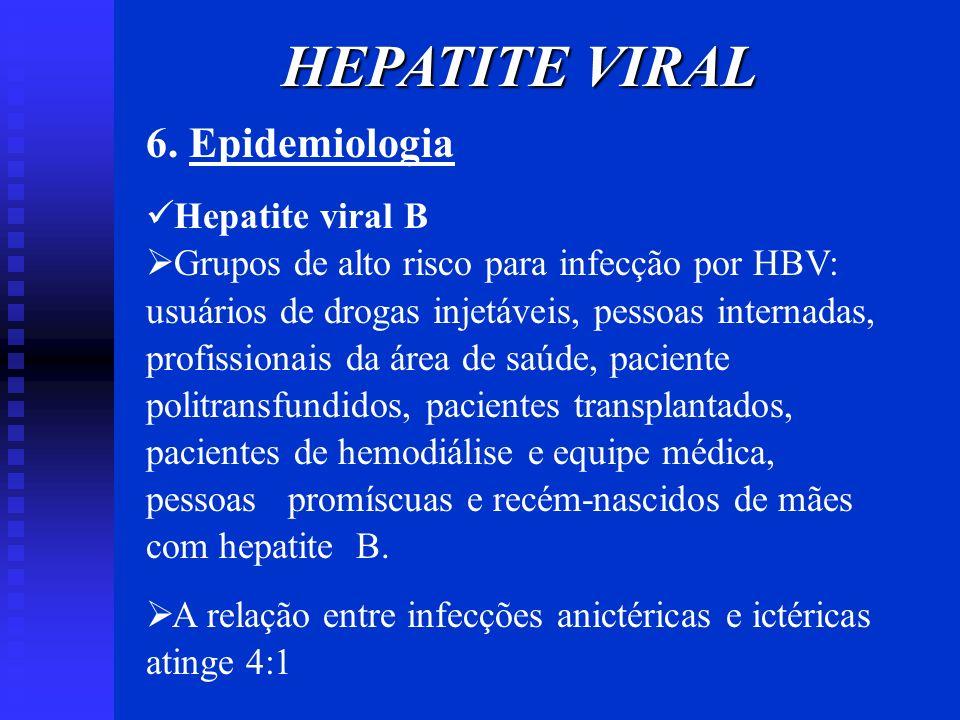 6. Epidemiologia Hepatite viral B Grupos de alto risco para infecção por HBV: usuários de drogas injetáveis, pessoas internadas, profissionais da área
