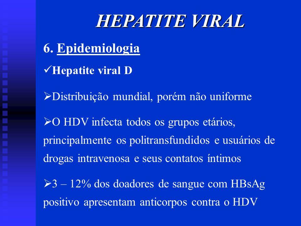 6. Epidemiologia Hepatite viral D Distribuição mundial, porém não uniforme O HDV infecta todos os grupos etários, principalmente os politransfundidos