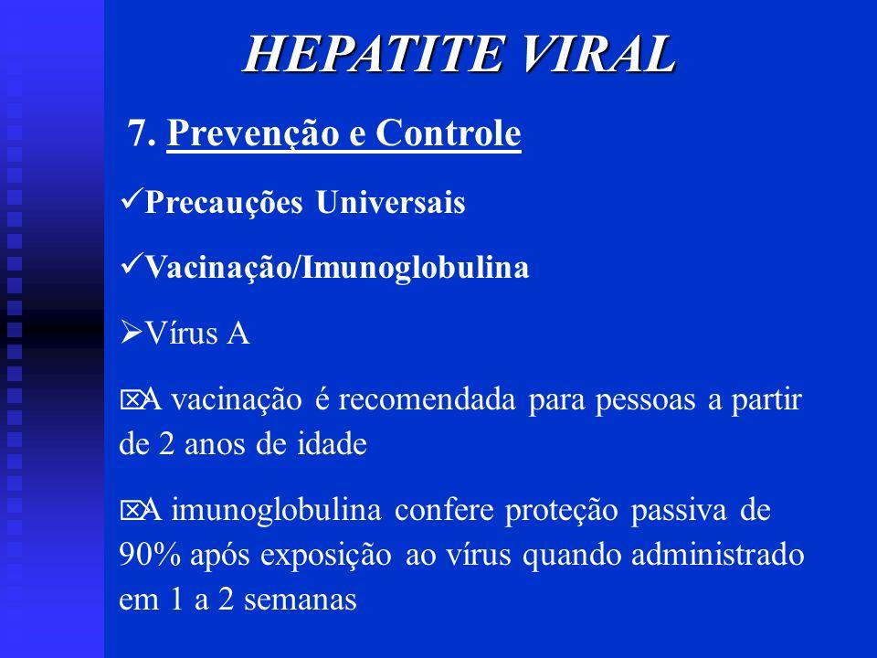 7. Prevenção e Controle Precauções Universais Vacinação/Imunoglobulina Vírus A A vacinação é recomendada para pessoas a partir de 2 anos de idade A im