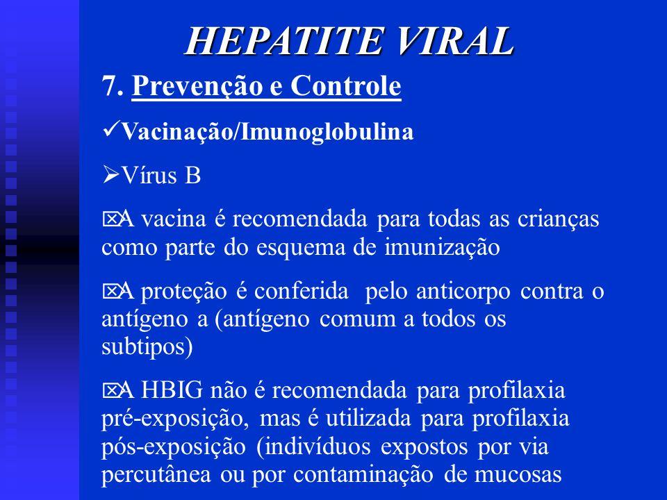 7. Prevenção e Controle Vacinação/Imunoglobulina Vírus B A vacina é recomendada para todas as crianças como parte do esquema de imunização A proteção