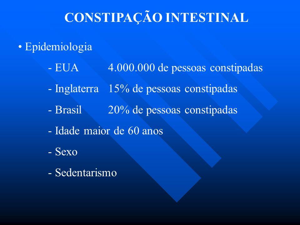 CONSTIPAÇÃO INTESTINAL Epidemiologia - EUA4.000.000 de pessoas constipadas - Inglaterra15% de pessoas constipadas - Brasil20% de pessoas constipadas -