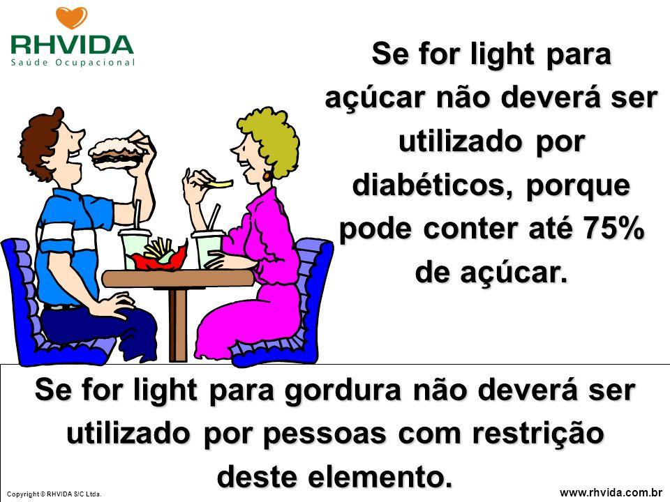 Copyright © RHVIDA S/C Ltda. www.rhvida.com.br Se for light para açúcar não deverá ser utilizado por diabéticos, porque pode conter até 75% de açúcar.
