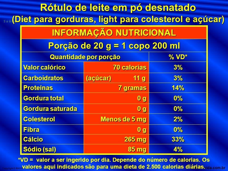 Copyright © RHVIDA S/C Ltda. www.rhvida.com.br INFORMAÇÃO NUTRICIONAL Porção de 20 g = 1 copo 200 ml Quantidade por porção % VD* Valor calórico 70 cal