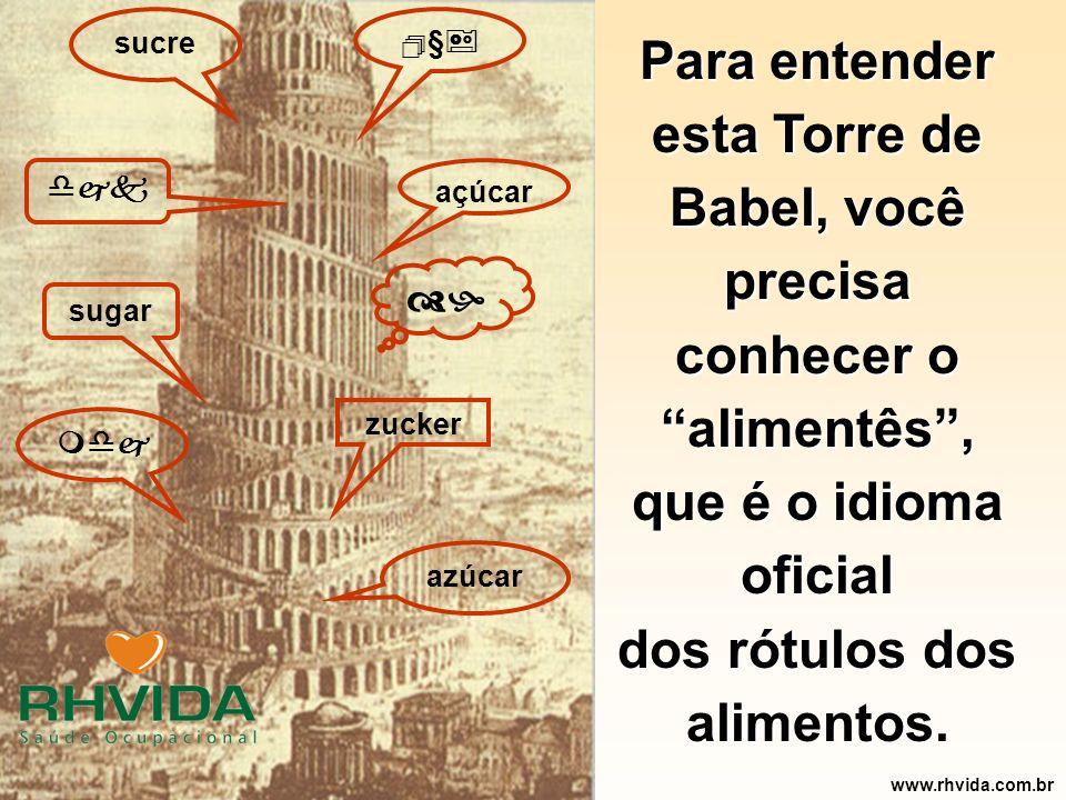 Copyright © RHVIDA S/C Ltda. www.rhvida.com.br Para entender esta Torre de Babel, você precisa conhecer o alimentês, que é o idioma oficial dos rótulo