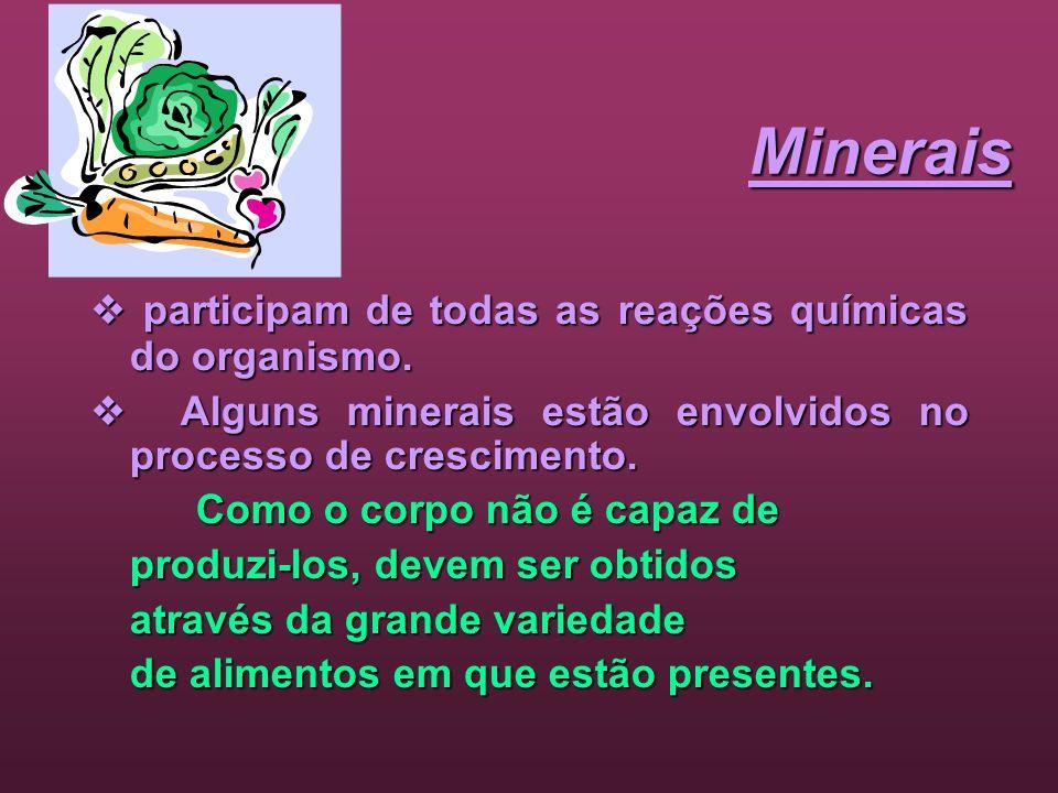 Minerais participam de todas as reações químicas do organismo. participam de todas as reações químicas do organismo. Alguns minerais estão envolvidos