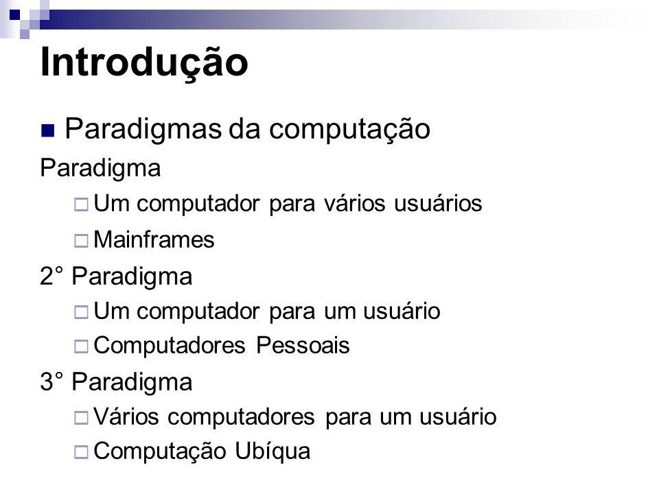 Introdução Paradigmas da computação Paradigma Um computador para vários usuários Mainframes 2° Paradigma Um computador para um usuário Computadores Pe