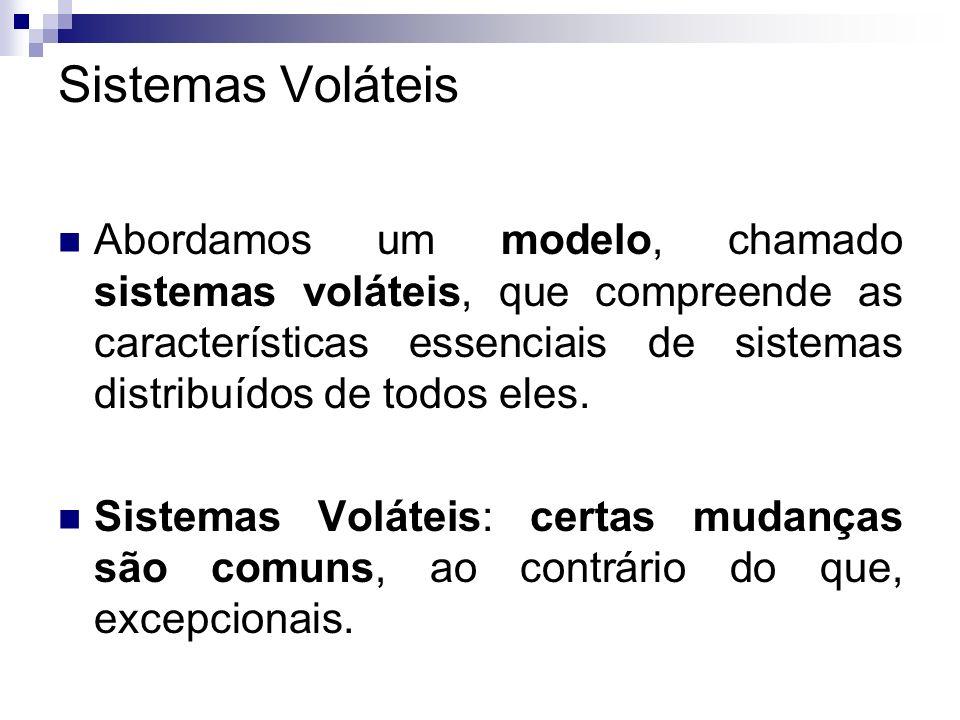 Sistemas Voláteis Abordamos um modelo, chamado sistemas voláteis, que compreende as características essenciais de sistemas distribuídos de todos eles.