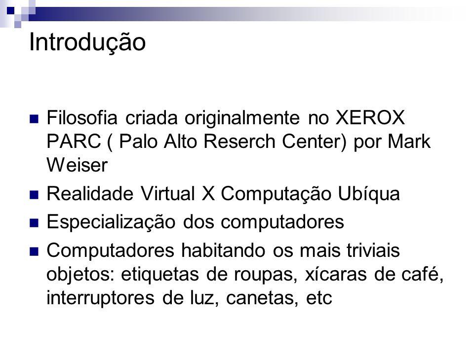 Introdução Filosofia criada originalmente no XEROX PARC ( Palo Alto Reserch Center) por Mark Weiser Realidade Virtual X Computação Ubíqua Especializaç