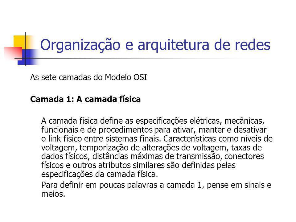 Organização e arquitetura de redes As sete camadas do Modelo OSI Camada 1: A camada física A camada física define as especificações elétricas, mecânic
