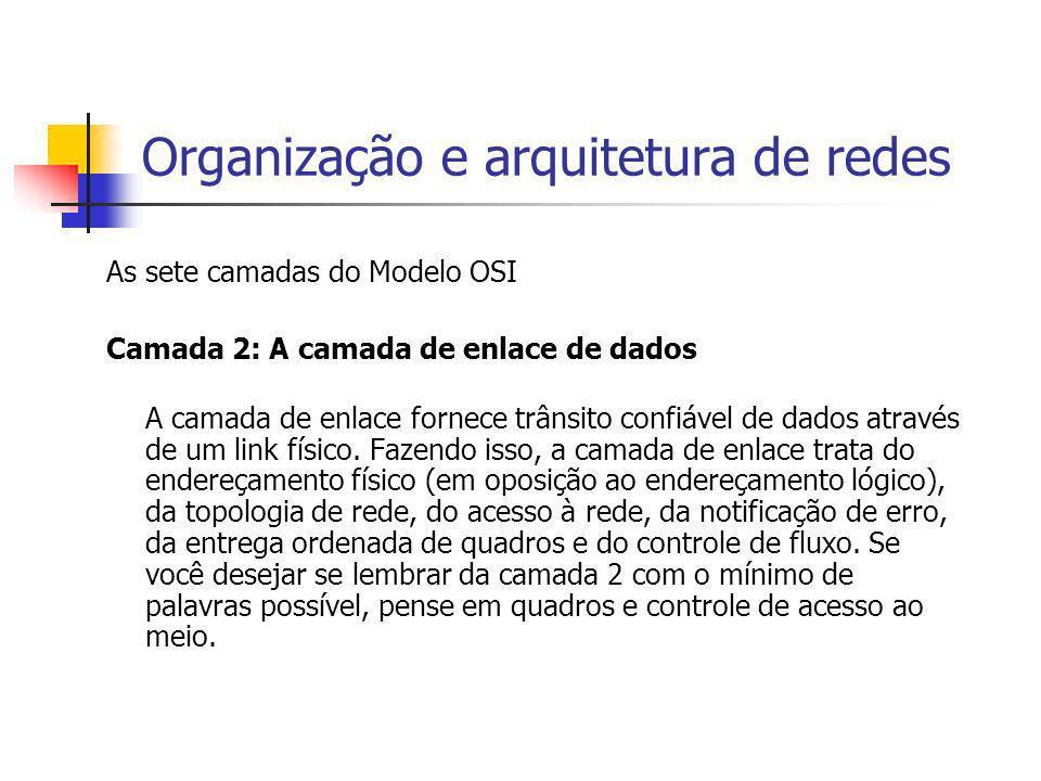 Organização e arquitetura de redes As sete camadas do Modelo OSI Camada 2: A camada de enlace de dados A camada de enlace fornece trânsito confiável d
