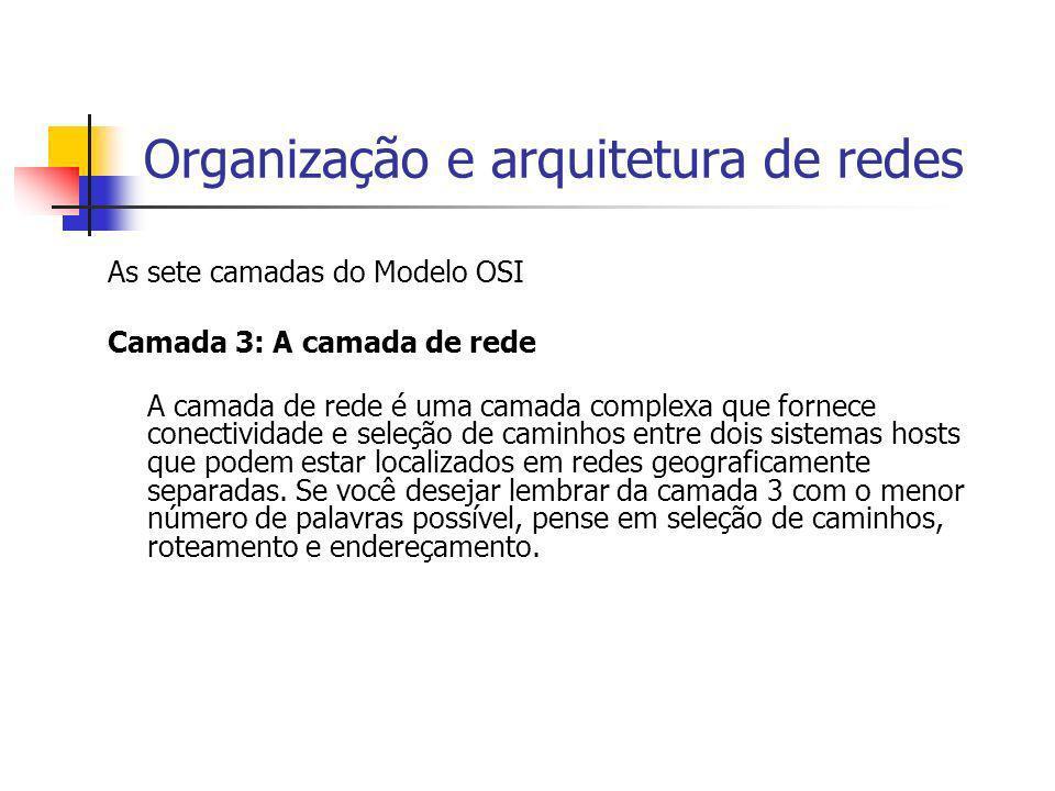 Organização e arquitetura de redes As sete camadas do Modelo OSI Camada 3: A camada de rede A camada de rede é uma camada complexa que fornece conecti