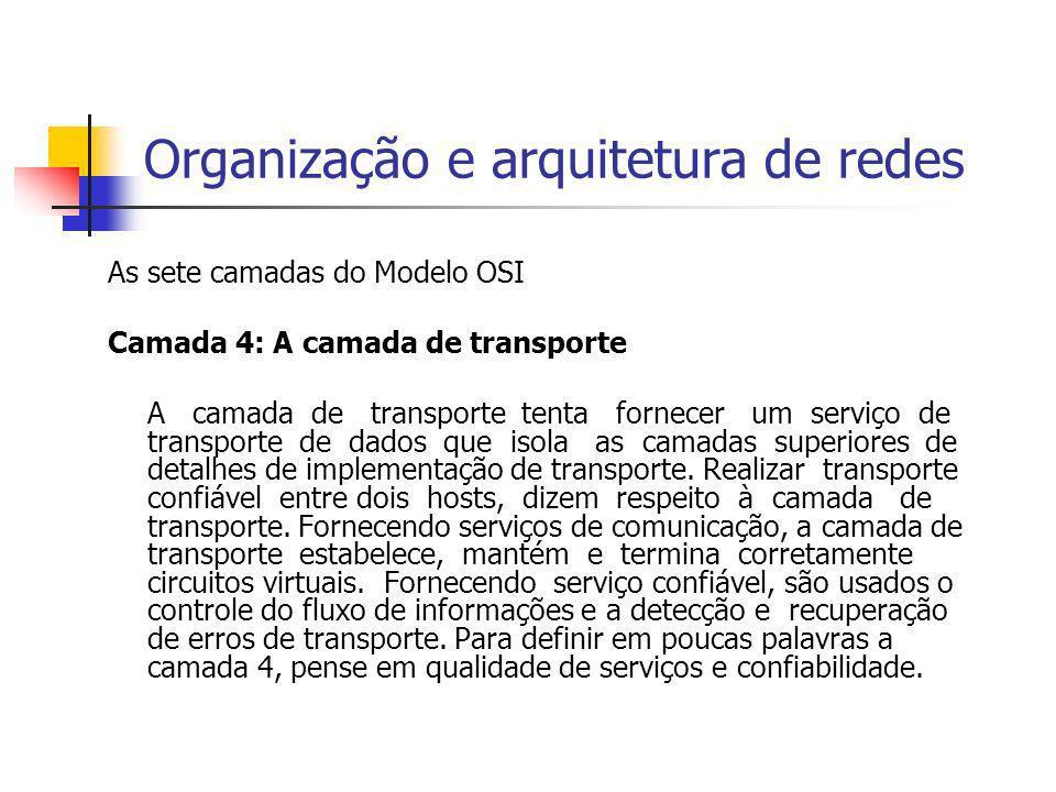 Organização e arquitetura de redes As sete camadas do Modelo OSI Camada 4: A camada de transporte A camada de transporte tenta fornecer um serviço de