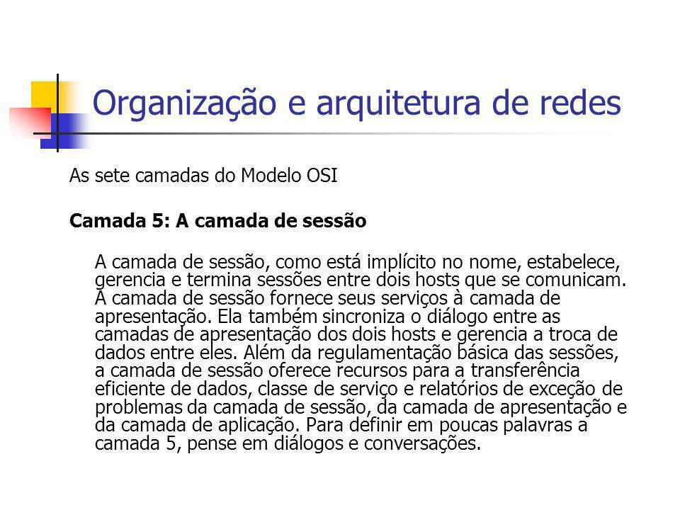 Organização e arquitetura de redes As sete camadas do Modelo OSI Camada 5: A camada de sessão A camada de sessão, como está implícito no nome, estabel