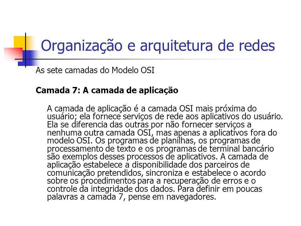 Organização e arquitetura de redes As sete camadas do Modelo OSI Camada 7: A camada de aplicação A camada de aplicação é a camada OSI mais próxima do