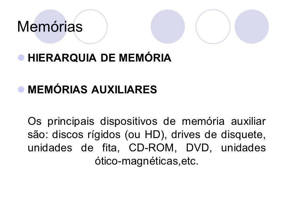 Memórias HIERARQUIA DE MEMÓRIA MEMÓRIAS AUXILIARES Os principais dispositivos de memória auxiliar são: discos rígidos (ou HD), drives de disquete, unidades de fita, CD-ROM, DVD, unidades ótico-magnéticas,etc.