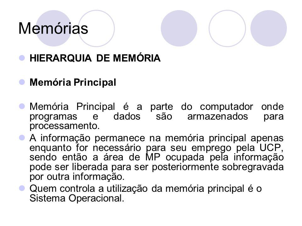 Memórias HIERARQUIA DE MEMÓRIA Memória Principal Memória Principal é a parte do computador onde programas e dados são armazenados para processamento.