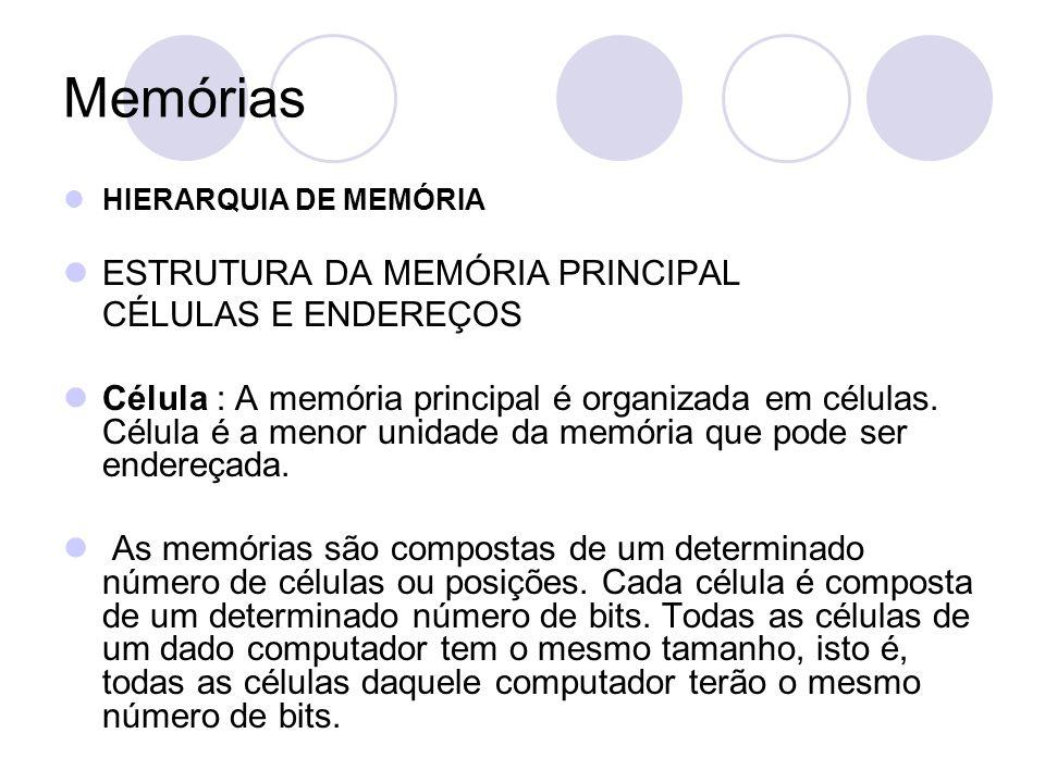 Memórias HIERARQUIA DE MEMÓRIA ESTRUTURA DA MEMÓRIA PRINCIPAL CÉLULAS E ENDEREÇOS Célula : A memória principal é organizada em células.