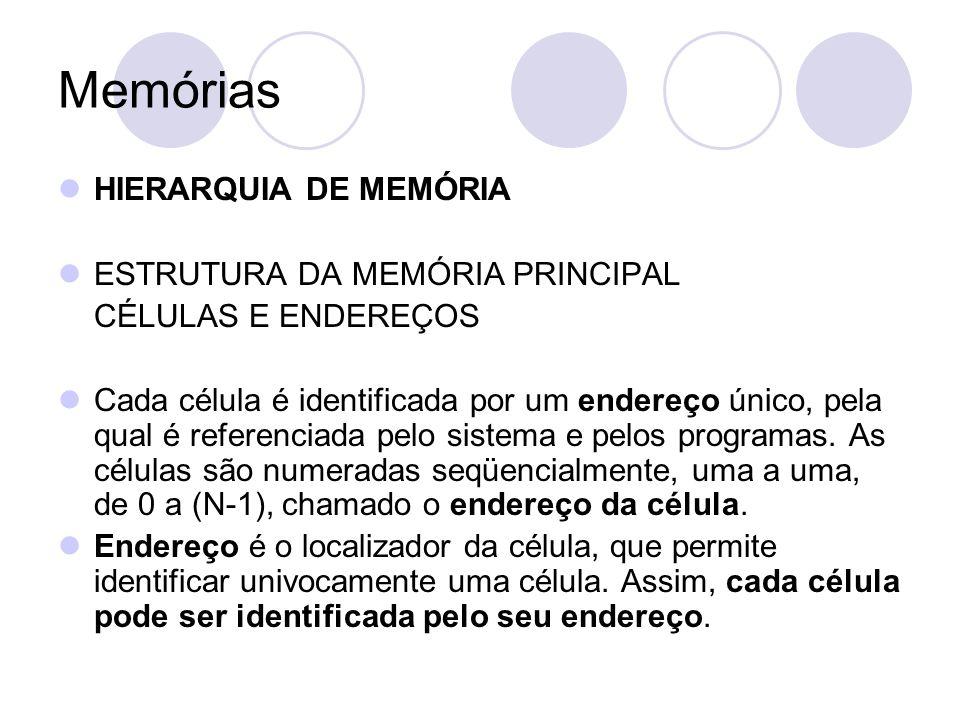 Memórias HIERARQUIA DE MEMÓRIA ESTRUTURA DA MEMÓRIA PRINCIPAL CÉLULAS E ENDEREÇOS Cada célula é identificada por um endereço único, pela qual é referenciada pelo sistema e pelos programas.