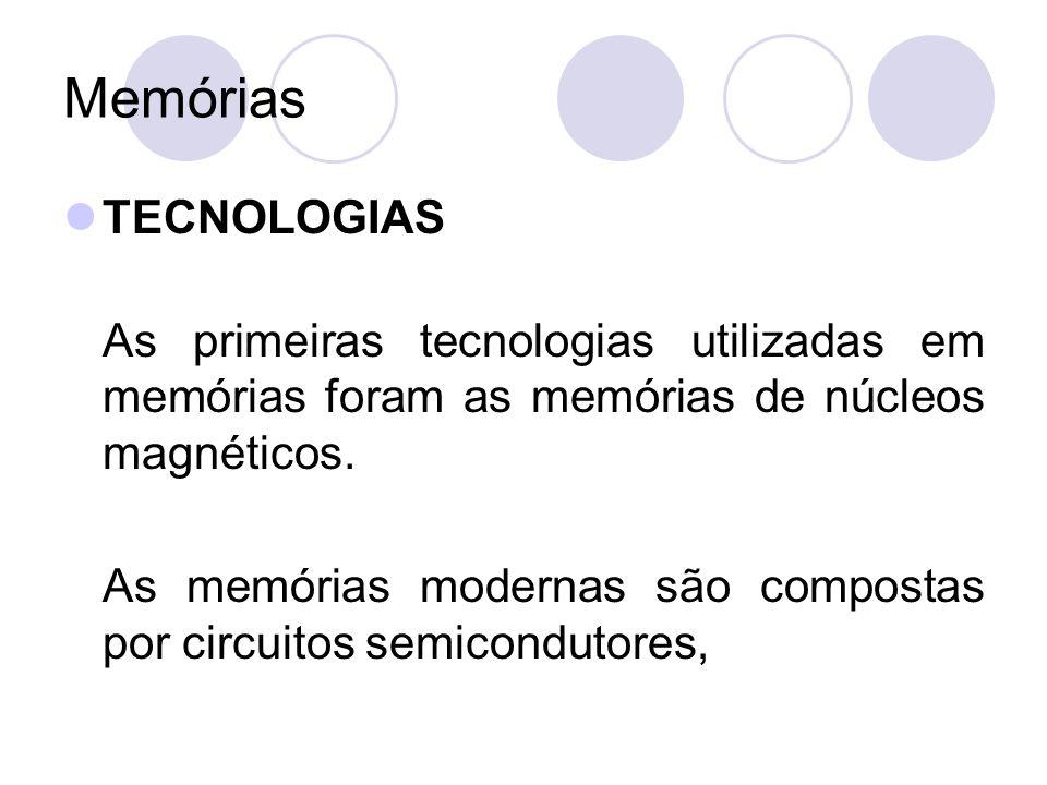 Memórias HIERARQUIA DE MEMÓRIA MEMÓRIAS AUXILIARES Memórias auxiliares resolvem problemas de armazenamento de grandes quantidades de informações.