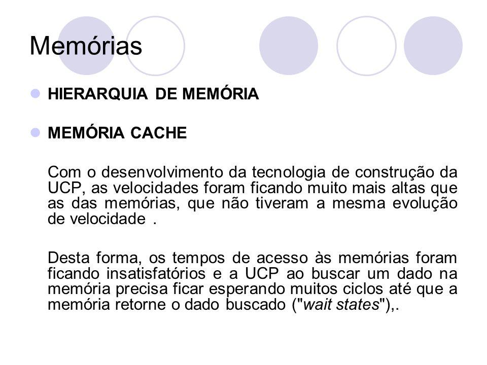 Memórias HIERARQUIA DE MEMÓRIA MEMÓRIA CACHE Por esse motivo, desenvolveram-se outras arquiteturas de memória privilegiando a velocidade de acesso.
