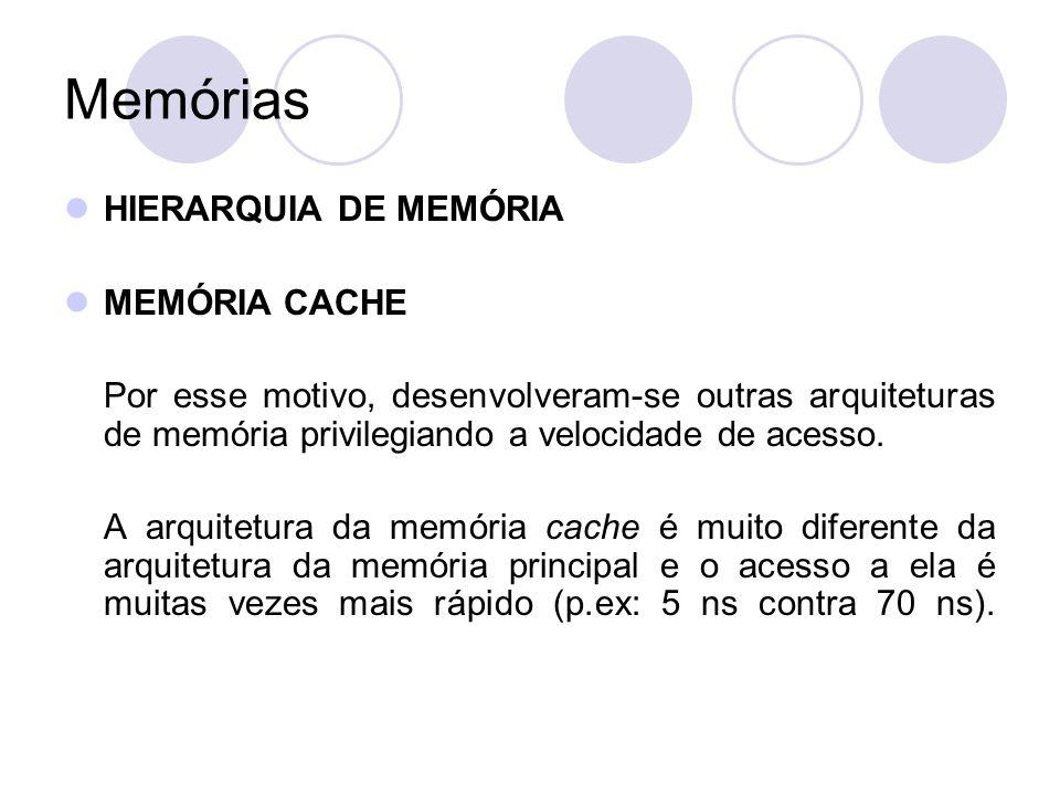 Memórias HIERARQUIA DE MEMÓRIA MEMÓRIA CACHE O custo de fabricação da memória cache é muito maior que o da MP.