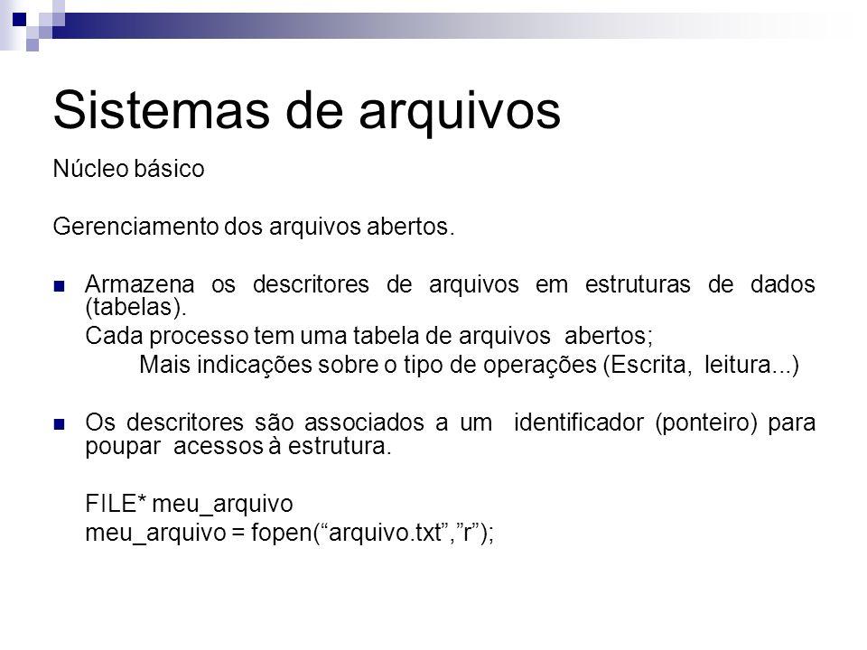 Sistemas de arquivos Núcleo básico Gerenciamento dos arquivos abertos. Armazena os descritores de arquivos em estruturas de dados (tabelas). Cada proc