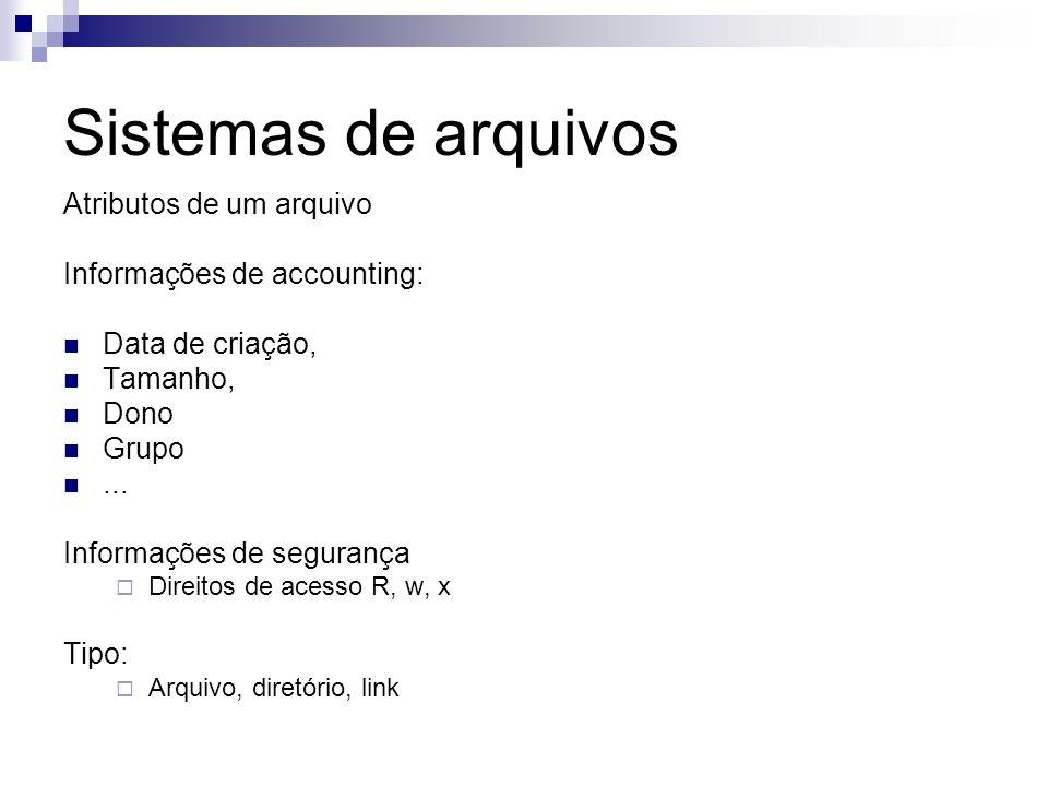 Sistemas de arquivos Atributos de um arquivo Informações de accounting: Data de criação, Tamanho, Dono Grupo... Informações de segurança Direitos de a
