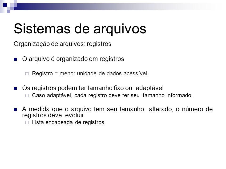 Sistemas de arquivos Organização de arquivos: registros O arquivo é organizado em registros Registro = menor unidade de dados acessível. Os registros