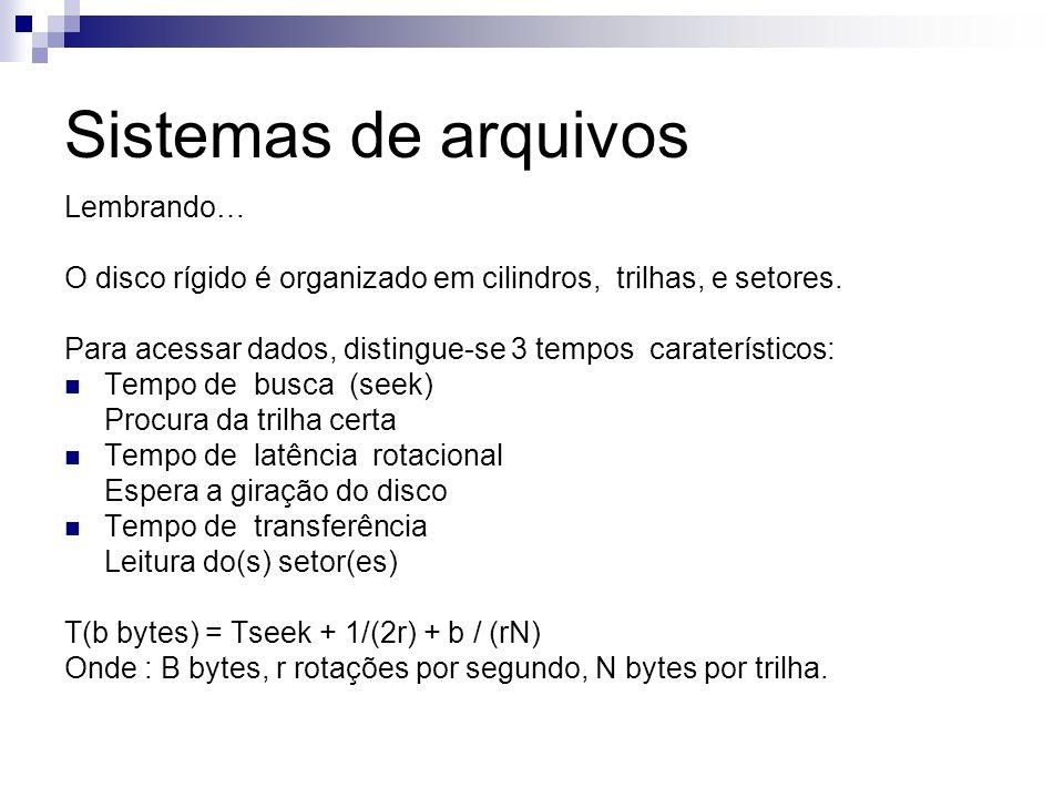 Sistemas de arquivos Atributos de um arquivo Informações de accounting: Data de criação, Tamanho, Dono Grupo...
