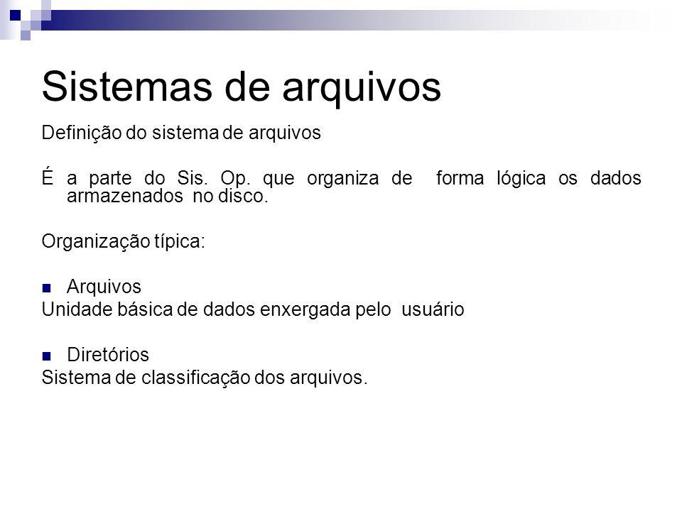 Sistemas de arquivos Definição do sistema de arquivos É a parte do Sis. Op. que organiza de forma lógica os dados armazenados no disco. Organização tí