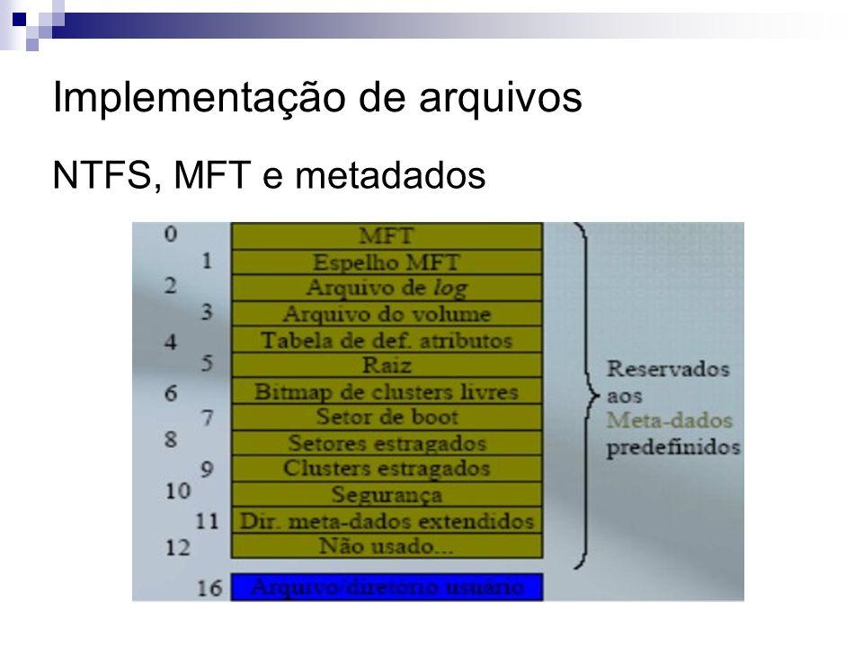 Implementação de arquivos NTFS, MFT e metadados